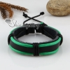 genuine leather wristbands adjustable drawstring warp bracelets unisex design F