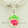 heart enamel european large hole charms fit for bracelets pink