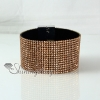 leather crystal rhinestone snap wrap slake bracelets fashion leather bracelet jewelry design A