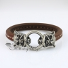 leopard round snap wrap bracelets genuine leather design B