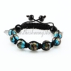 macrame glitter lampwork murano glass bracelets jewelry armband light blue