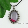 oval glass opal tiger's-eye amethyst rose quartz jade agate semi precious stone necklaces with pendants design E