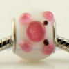 pig murano glass large hole beads for fit charms bracelets pink