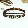 rhinestone charm genuine leather wrap bracelets design B