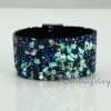shining rhinestone magnetic buckle wrap slake bracelets mix color leather bracelet design B