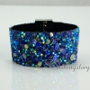 shining rhinestone magnetic buckle wrap slake bracelets mix color leather bracelet design C
