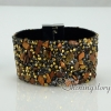 shining rhinestone magnetic buckle wrap slake bracelets mix color leather bracelet design F