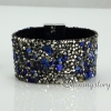 shining rhinestone magnetic buckle wrap slake bracelets mix color leather bracelet design G