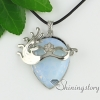 teardrop flower wave turquoise glass opal rose quartz jade agate semi precious stone rhinestone openwork necklaces with pendants design E