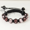 two color alternating macrame crystal beads bracelets jewelry design F